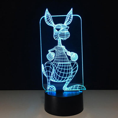 3D kangaroo Illusion LED Lamp Multiple Colors - 3D Led Lamps
