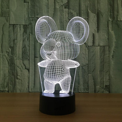3D Koala Bear Illusion LED Lamp Multiple Colors - 3D Led Lamps