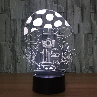 3D Illusion Mushroom House LED Lamp - 3D Led Lamps