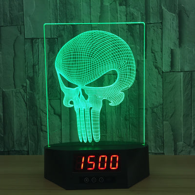 3D Digital Clock Long Skull Lamp - 3D Led Lamps
