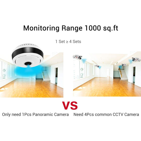 360° Panoramic Camera Wifi Indoor IP Camera Fisheye ,Home Security Camera System for Large Area Monitoring - Super Best Deals Online