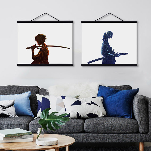 Modern Watercolor Japanese Samurai Champloo Wooden Framed Canvas ...