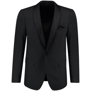 Front perspective of classic fit one button solid tuxedo with bow tie for men