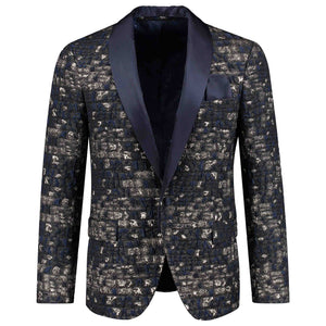 One button solid dark blue tuxedo for men
