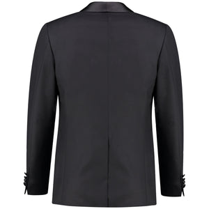 Back perspective of classic fit one button solid tuxedo for men