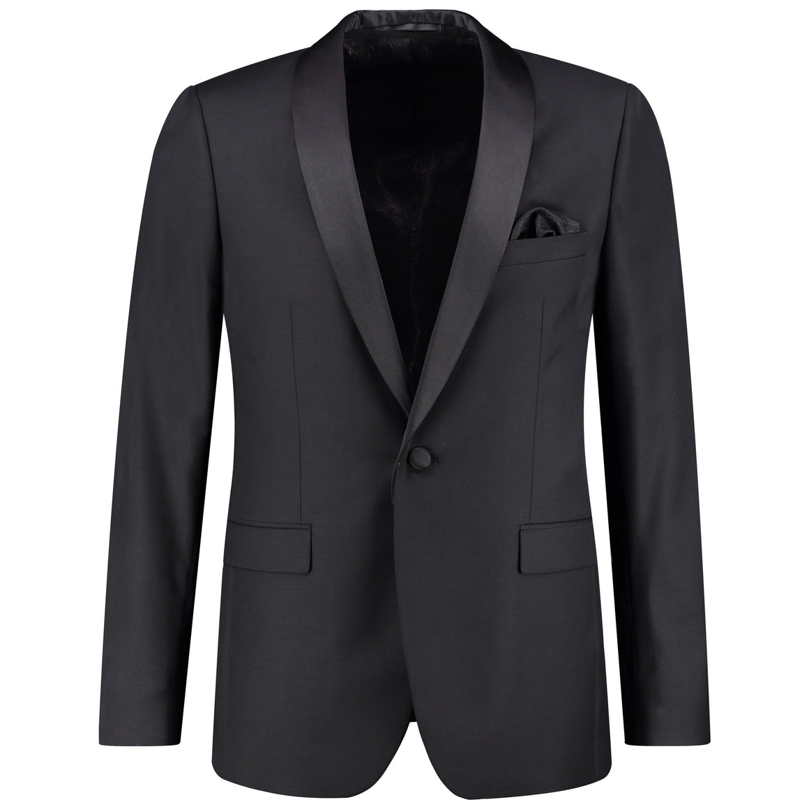 Front perspective of classic fit one button solid tuxedo for men