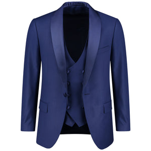 Classic fit one button solid dark blue tuxedo with bow tie for men