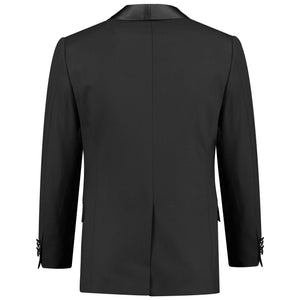 Back perspective of one button solid gray tuxedo with bow tie for men
