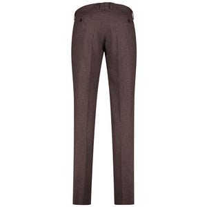 Back perspective of dark red pants for men