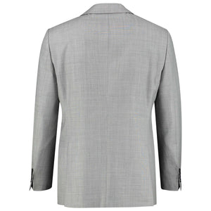 Back perspective of slim fit light gray suit for men
