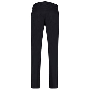 Back perspective of Carmelo flat black pants for men