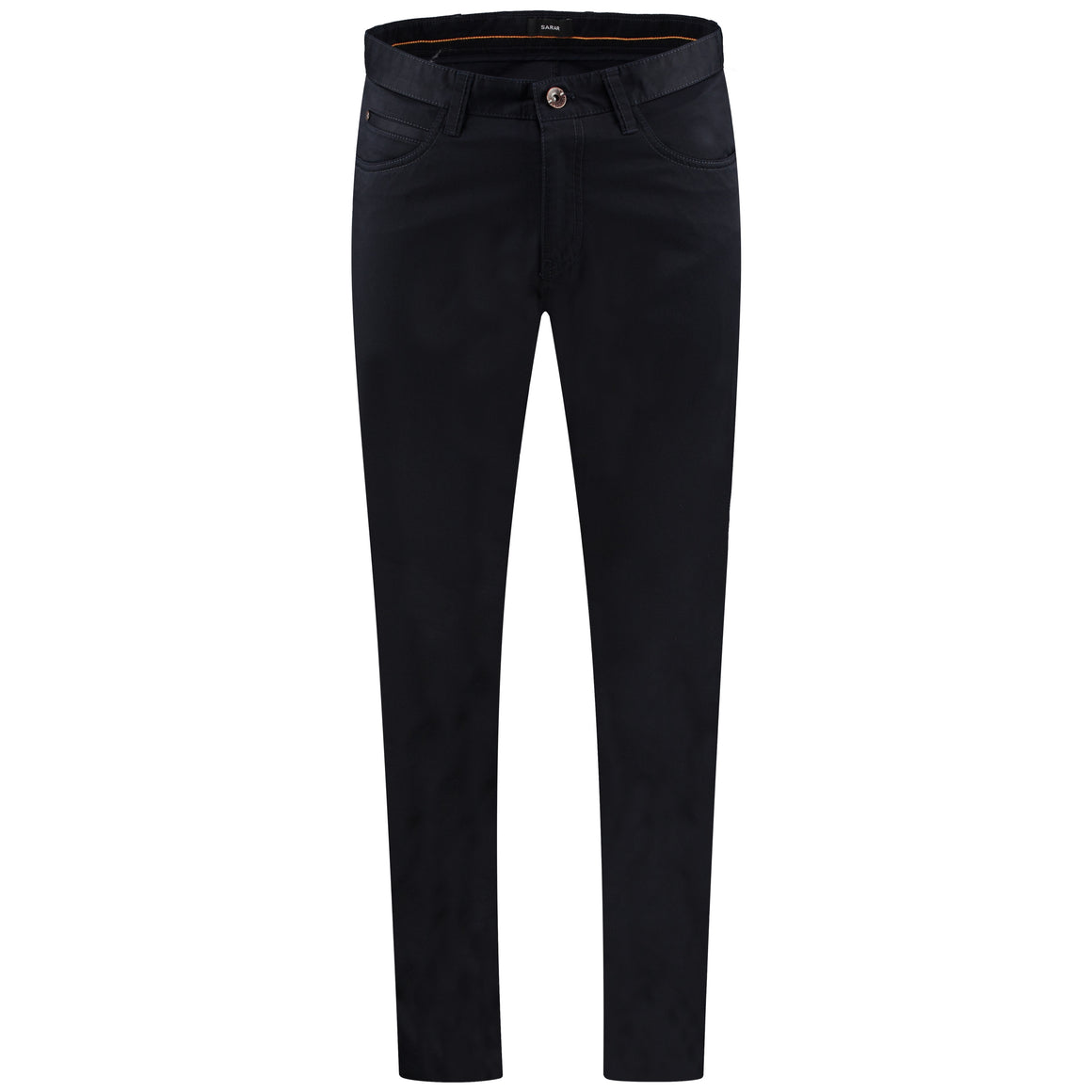Front perspective of Carmelo flat black pants for men