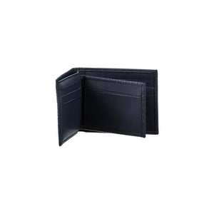 Dark blue bi-fold wallet for men