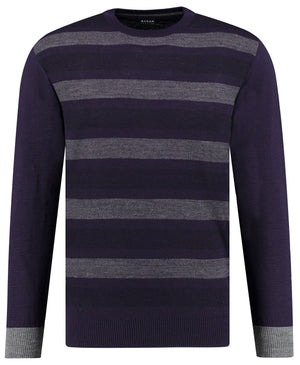 Front perspective of classic fit o-neck purple long sleeve pullover sweater knitwear for men