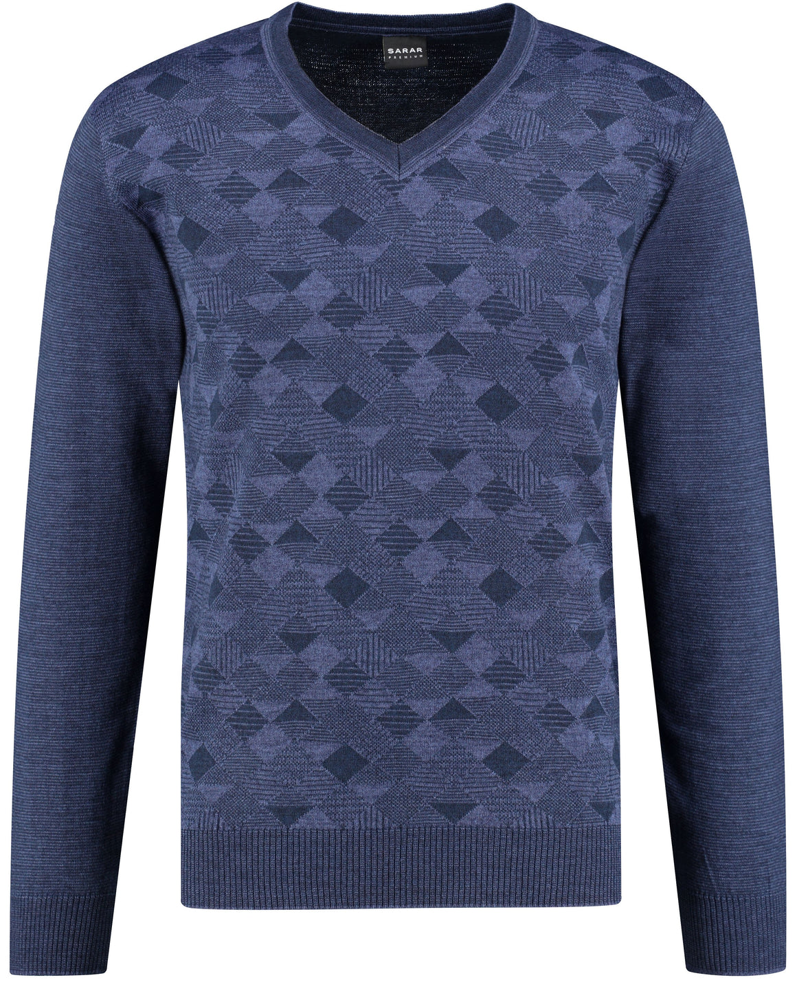 Front perspective of classic fit v-neck blue long sleeve pullover sweater knitwear for men