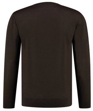 Back perspective of classic fit o-neck long sleeve pullover sweater knitwear for men