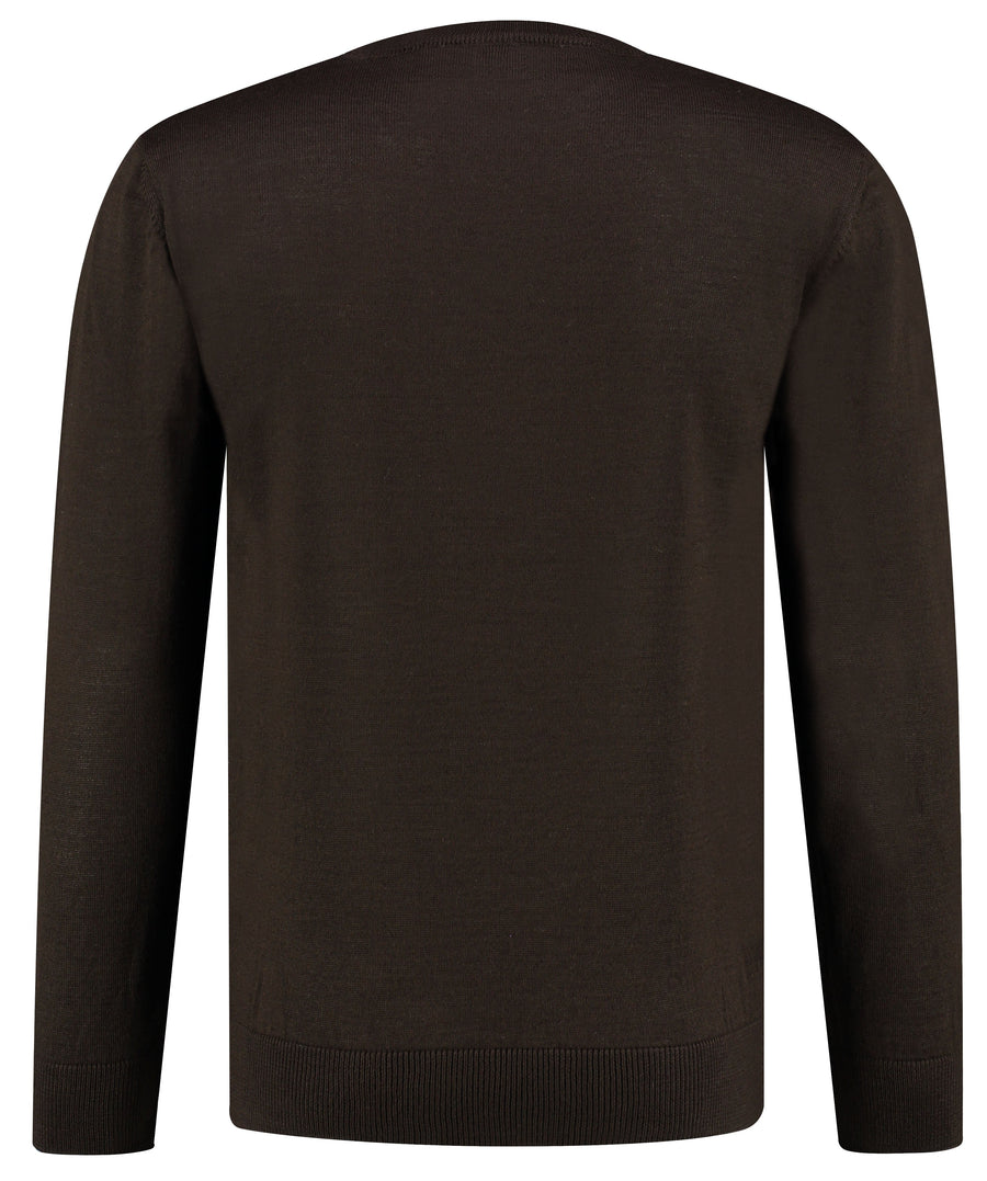 Front perspective of classic fit o-neck long sleeve pullover sweater knitwear for men