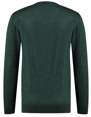 Back perspective of classic fit v-neck green long sleeve pullover sweater knitwear for men