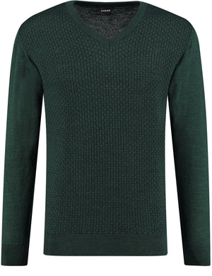 Front perspective of classic fit v-neck green long sleeve pullover sweater knitwear for men