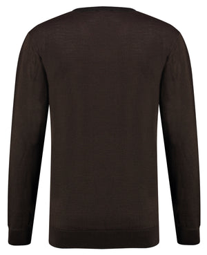Back perspective of classic fit v-neck camel long sleeve pullover sweater knitwear for men