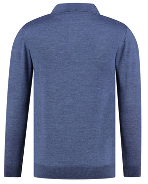 Back perspective of classic fit o-neck blue long sleeve pullover sweater knitwear for men