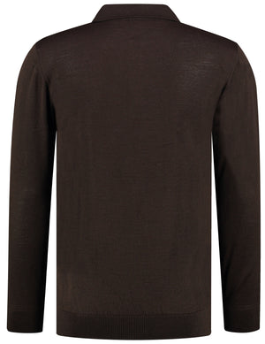 Back perspective of classic fit polo-neck camel long sleeve pullover sweater knitwear for men