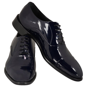Dark blue shiny shoes with lace
