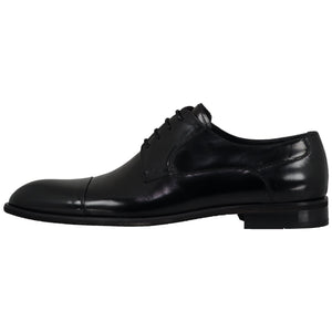Side perspective for black shiny shoes
