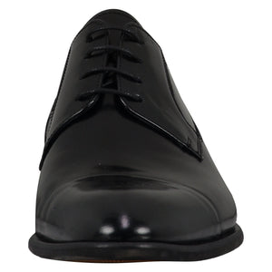front perspective for black shiny shoes