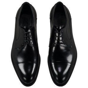 Top perspective for black shiny shoes