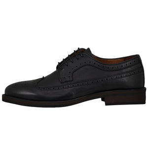 Side perspective of casual wingtip lace-up with black dress shoes for men