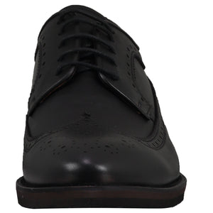 Front perspective of casual wingtip lace-up with black dress shoes for men