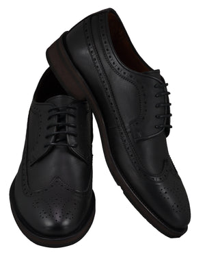 Front and side perspectives of casual wingtip lace-up with black dress shoes for men