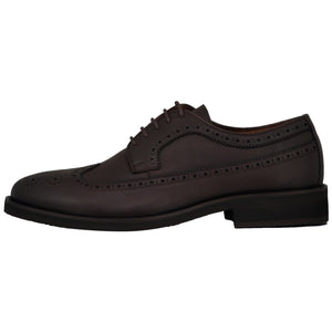 Side perspective of casual wingtip lace-up with brown dress shoes for men