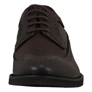 Front perspective of casual wingtip lace-up with brown dress shoes for men