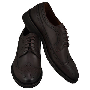 Front and side perspectives of casual wingtip lace-up with brown dress shoes for men