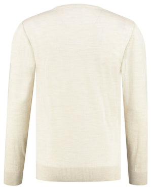 Back perspective of beige sweater knitwear for men