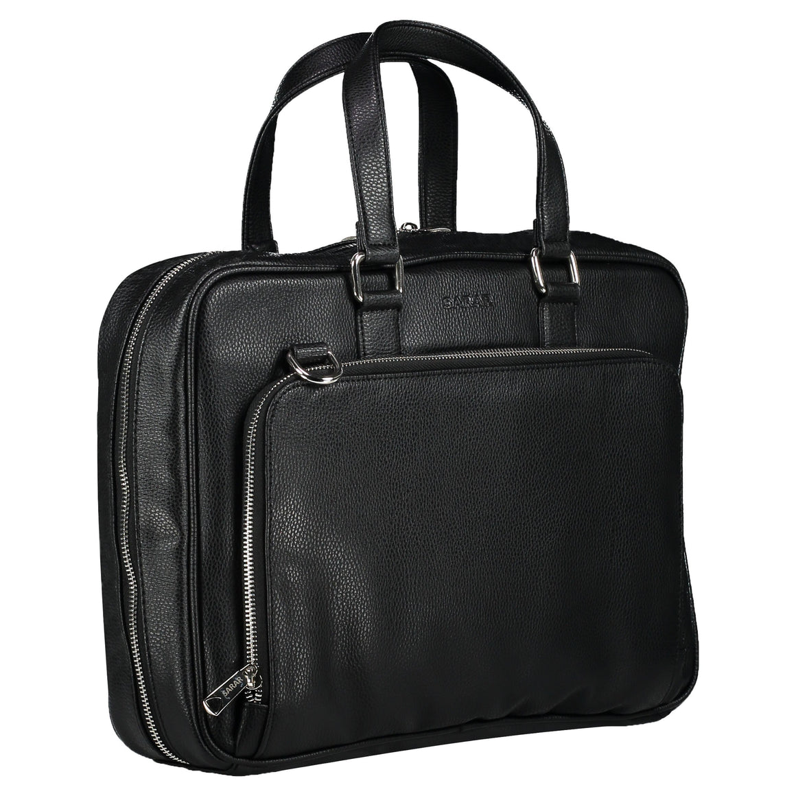 Zipper leather black bag with one main compartment