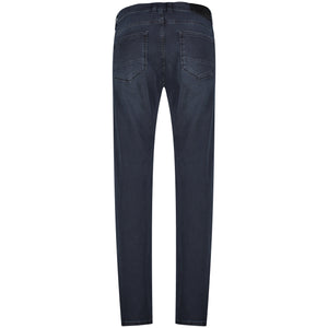 Back perspective of slim fit blue jeans pants