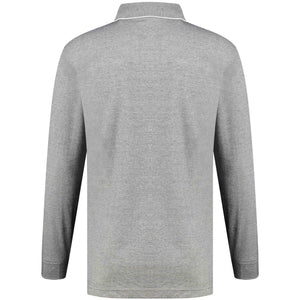 Back perspective of classic fit polo-neck light gray long sleeve pullover sweater knitwear for men