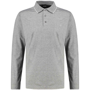 Front perspective of classic fit polo-neck light gray long sleeve pullover sweater knitwear for men