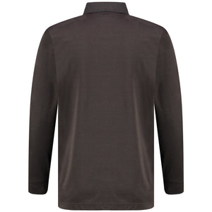 Back perspective of classic fit polo-neck dark brown long sleeve pullover sweater knitwear for men