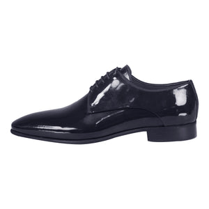 Side perspective of dark blue classic lace-up shiny dress shoes for men