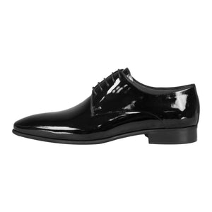 Side perspective of black classic lace-up shiny dress shoes for men