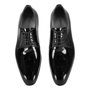 Top view of black classic lace-up shiny dress shoes for men