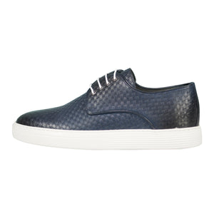 Side perspective of casual lace-up dark blue dress shoes for men