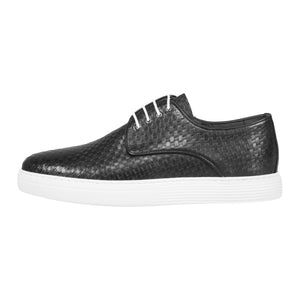 Side perspective of casual lace-up black dress shoes for men