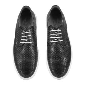 Top view of casual lace-up black dress shoes for men