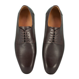 Top perspective of brown classic lace-up dress shoes for men
