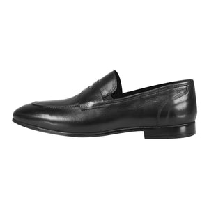 Side perspective of black lace shoes for men